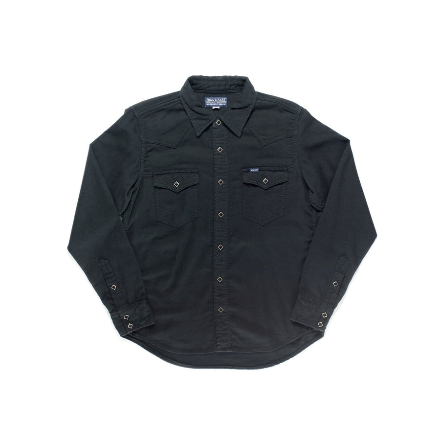 IHSH-228 Cotton Linen Chambray Western Shirt Black