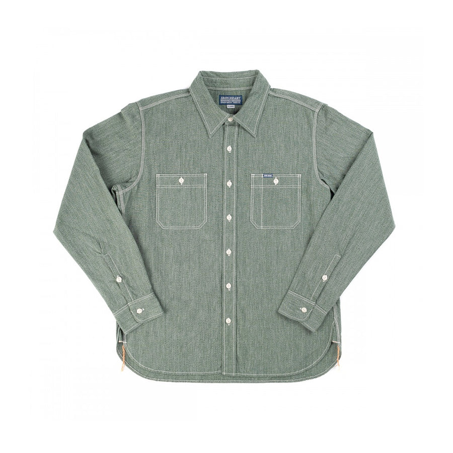 IHSH-290-GRN Mock Twist Chambray Work Shirt Green