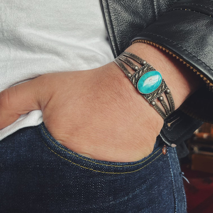 Fred Harvey Era Sterling & Turquoise Cuff