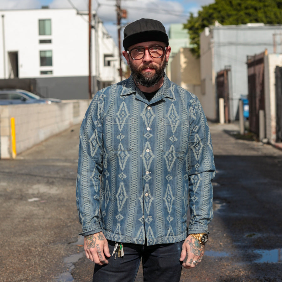 Indigo Jacquard Camp Shirt