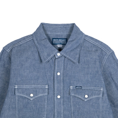 10oz IHSH-13-BLU Selvedge Chambray Western Shirt