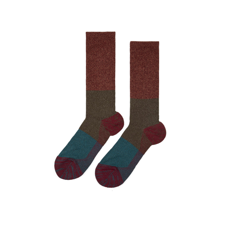Moc Pile Crew Boot Sock Wine