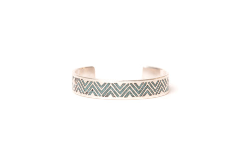 Mt. Hill Silver Chipped Inlaid Turquoise Thunderbolt Cuff
