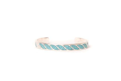 Mt. Hill Sterling Silver Turquoise & Coral Inlay Cuff