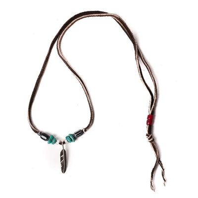 Small Feather Pendant Necklace Turquoise Brown