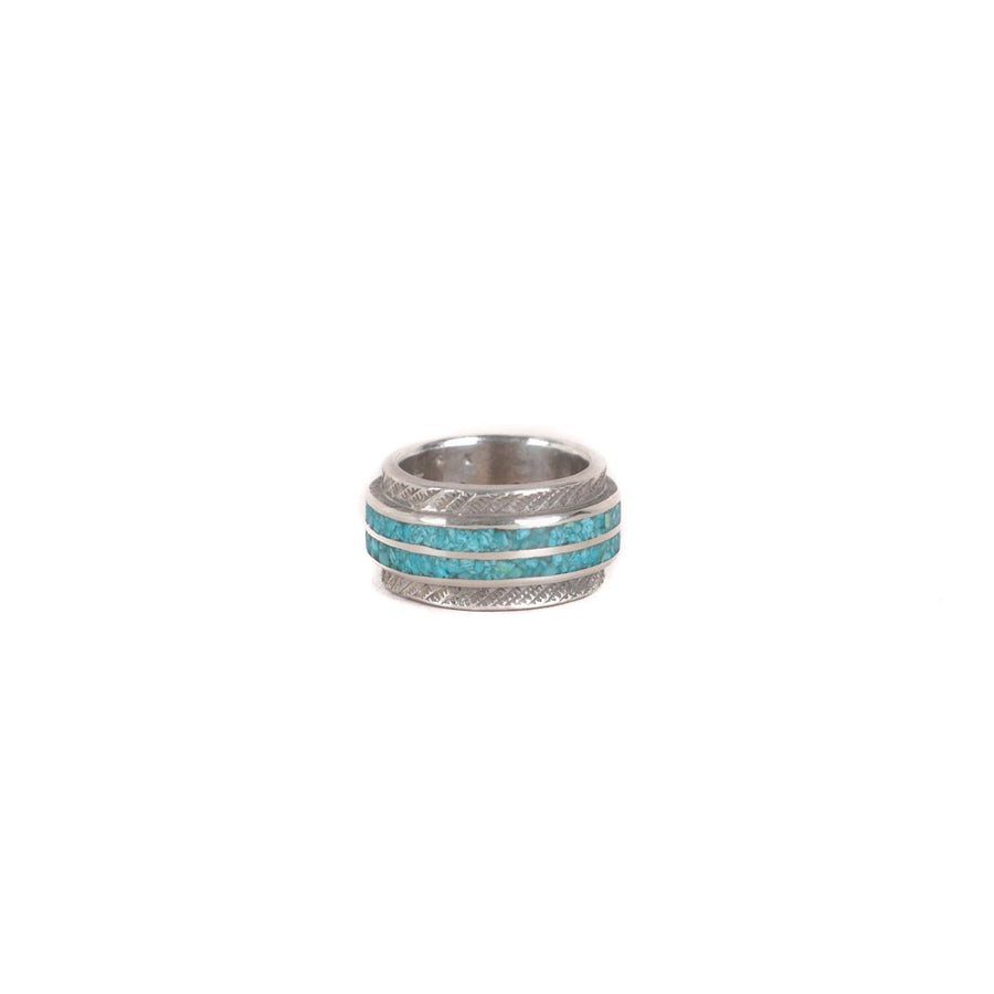 Sterling Silver Turquoise Inlay Ring Wide