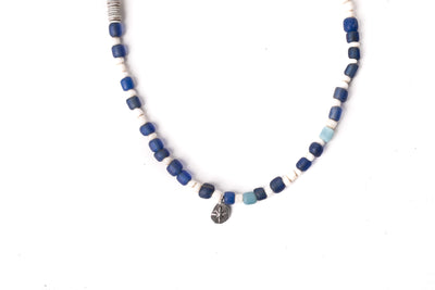 Mt. Hill Silver Java Seed Necklace Indigo