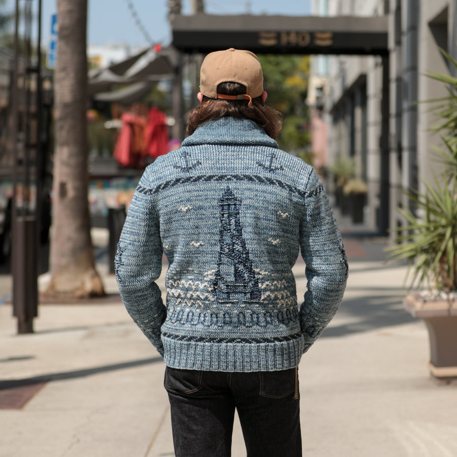 Hand-Knit Cardigan Blue Indigo