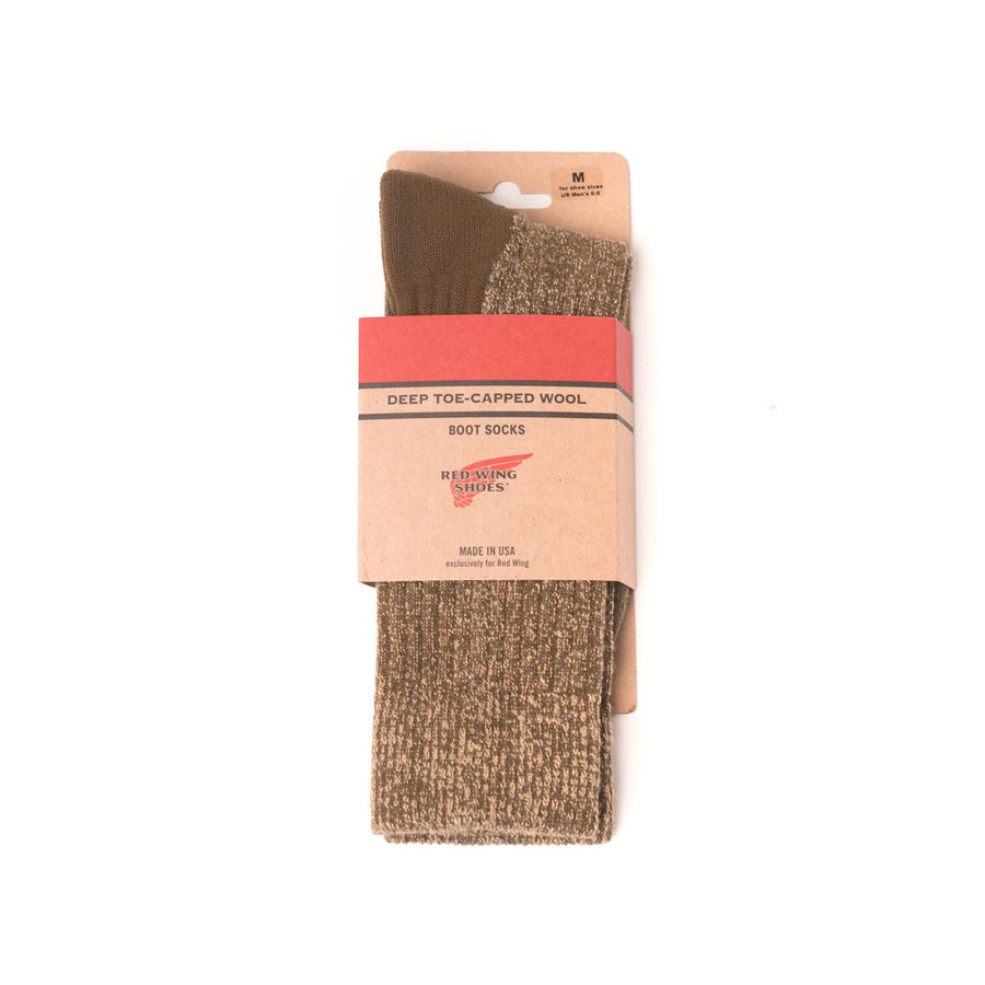 Deep Toe-Capped Wool Sock Olive