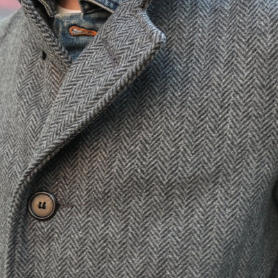 734 Herringbone Wool Blend Overcoat Charcoal