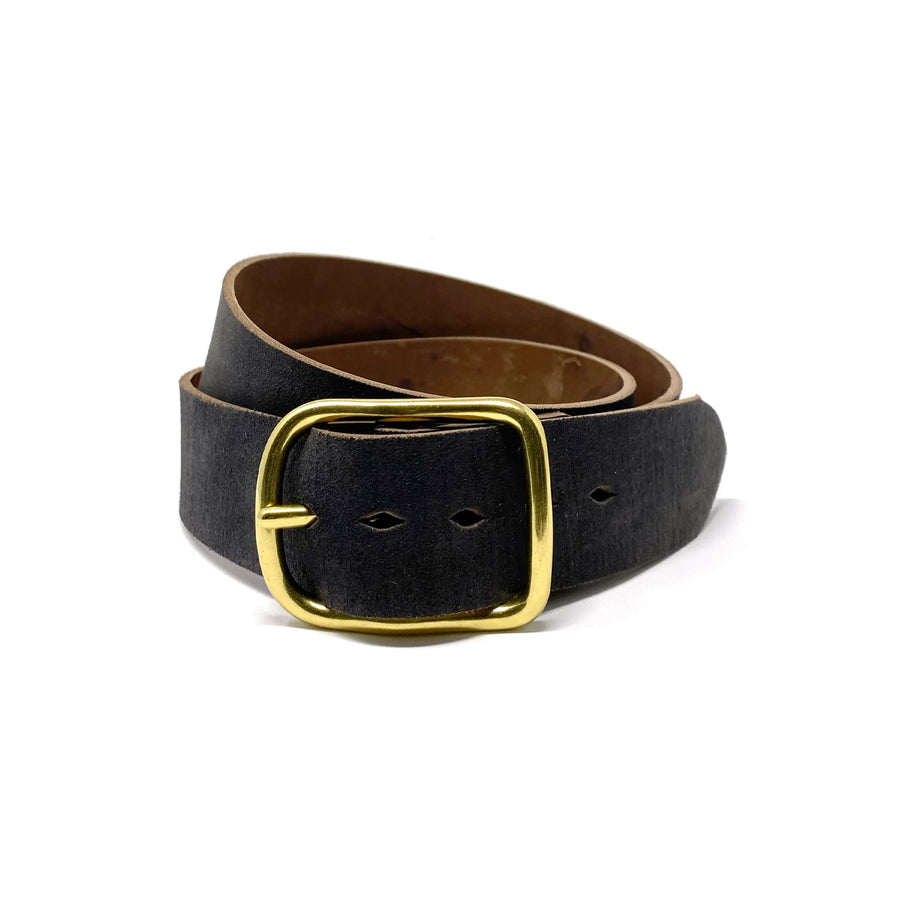 1.5 Inch Black Roughout Belt w/ Brass