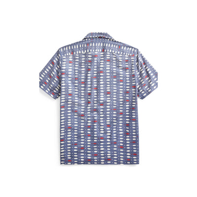 Fish-Print Seersucker Camp Shirt