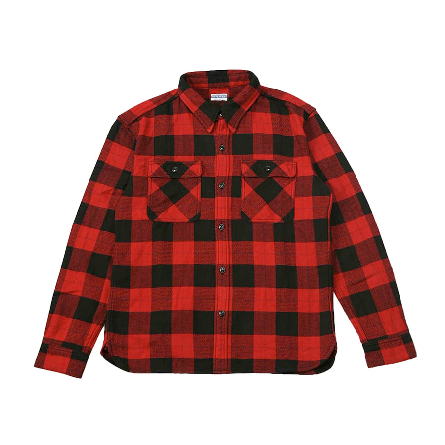 FN-SNR-001L Block Flannel Work Shirt Red