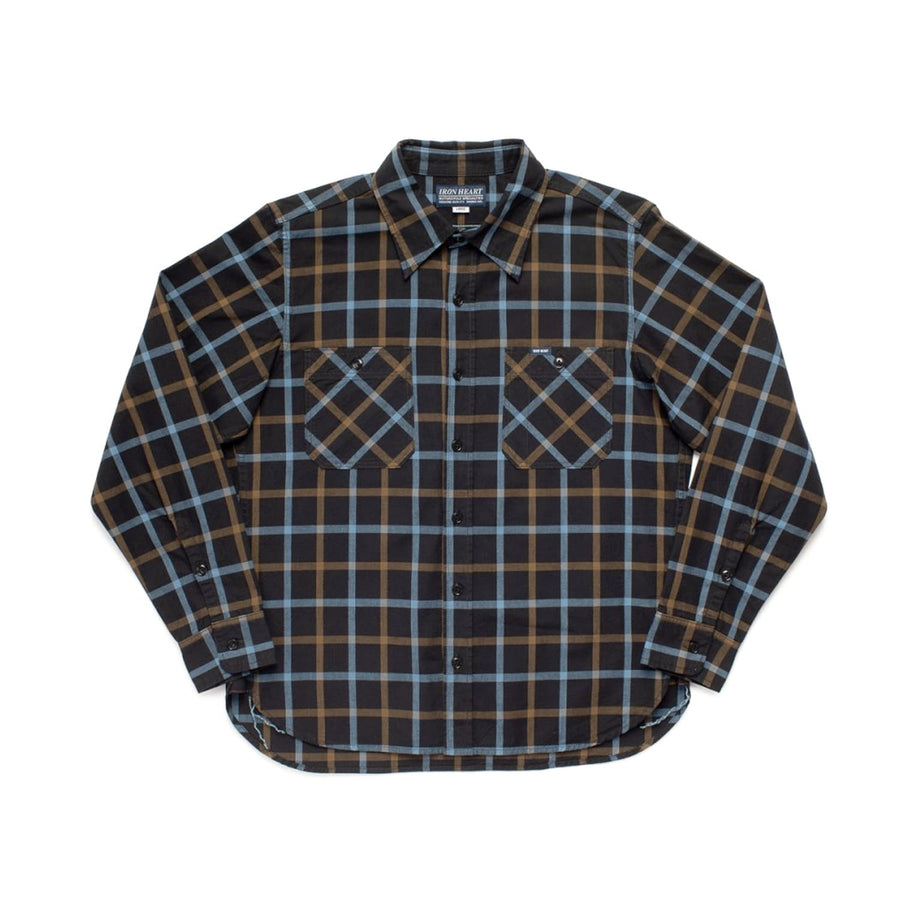 IHSH-281-BLK 5oz Selvedge Tattersall Check Madras Work Shirt Black