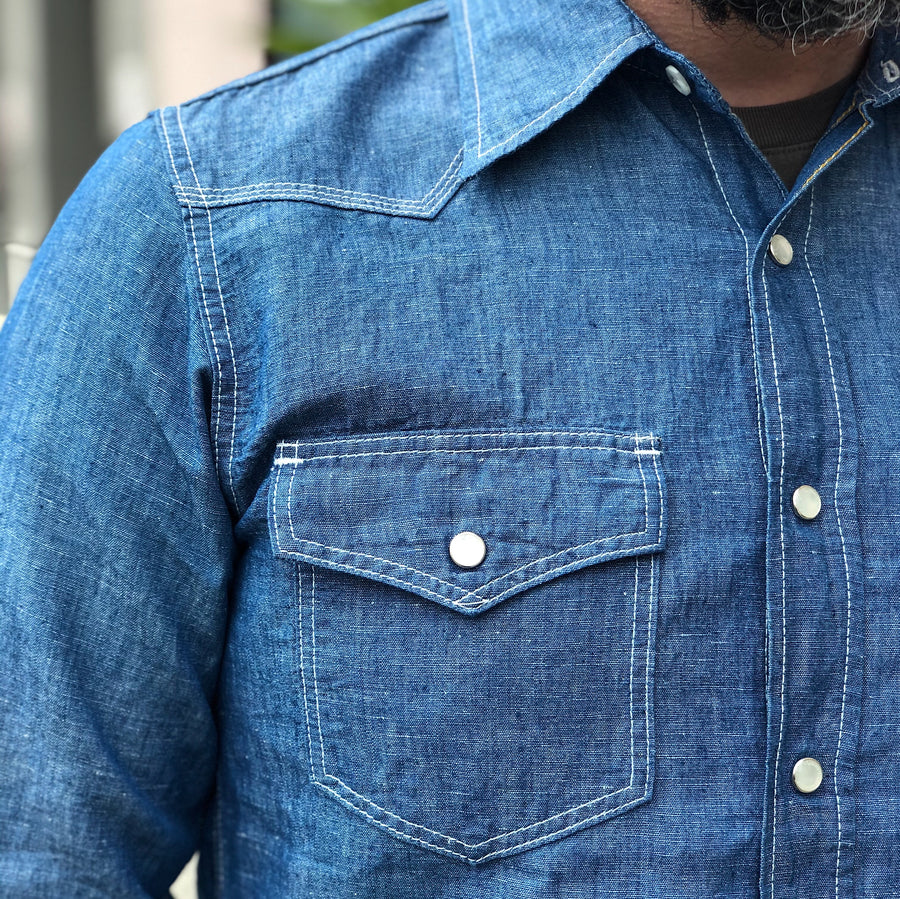 IHSH-248-IND Chambray Western Shirt Blue