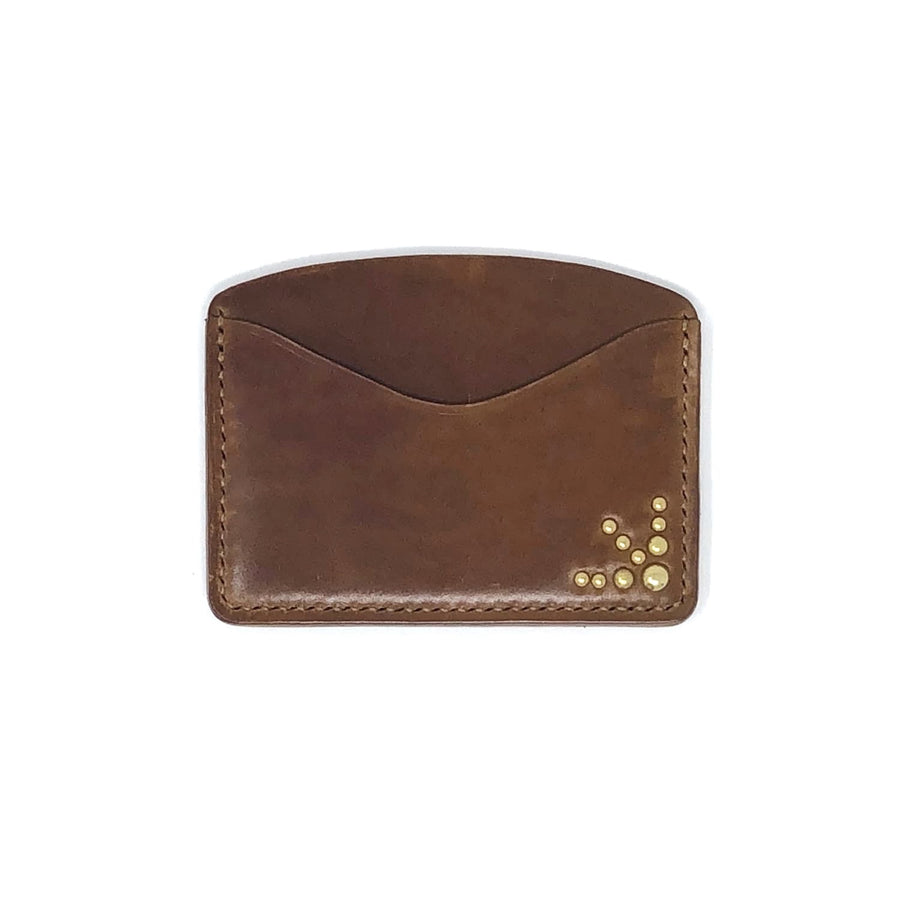 The Black Acre x SOP Studded Card Holder Light Brown Cordovan