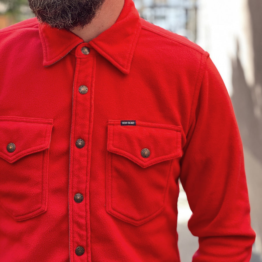 IHSH-287-RED Microfleece C.P.O Shirt Red
