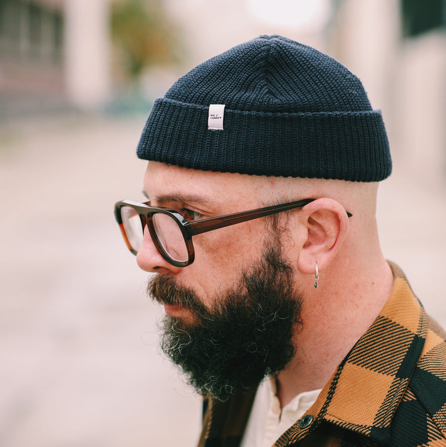 Cotton Knit Beanie Navy