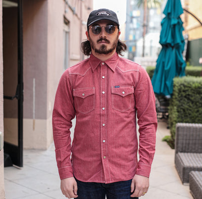 IHSH-289-RED Mock Twist Chambray Western Red