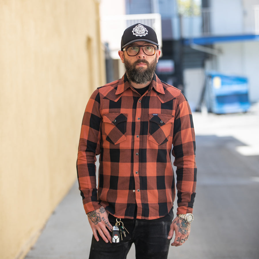 IHSH-247 Check Western Shirt Red