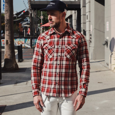 IHSH-259-RED Ultra Heavy Flannel Small Block Check Western Shirt