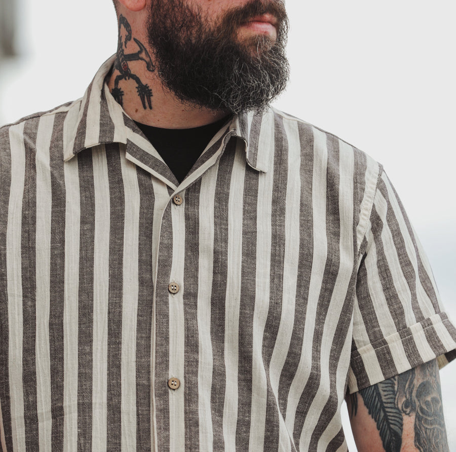 Vacation Shirt Brown Stripe