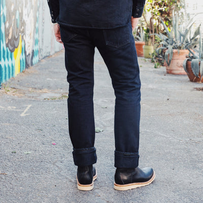 21oz IH-555-01OD Super Slim Jean Indigo Overdyed Black