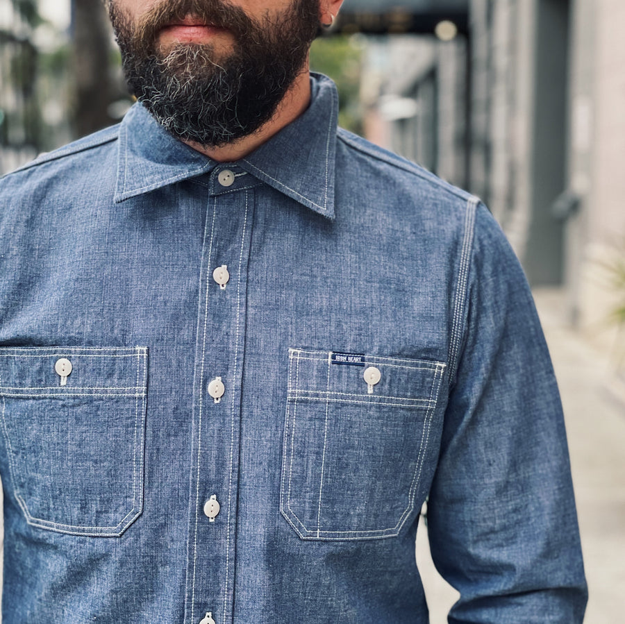IHSH-21-BLU 10oz Selvedge Chambray Work Shirt