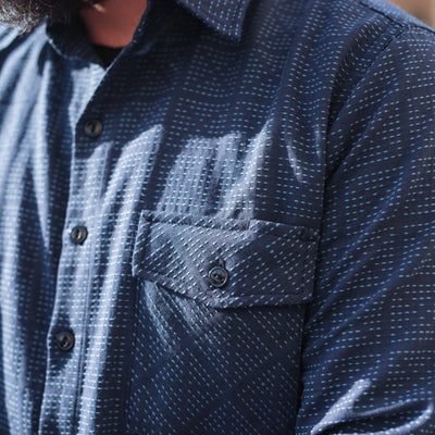 Oxford Work Shirt Navy X-Stitch Sashiko
