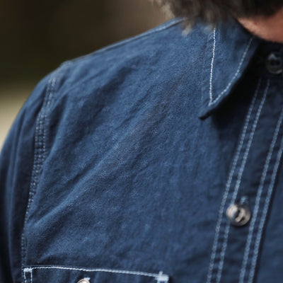 "Garment Dyed ""BM"" Work Shirt Floral Chambray"
