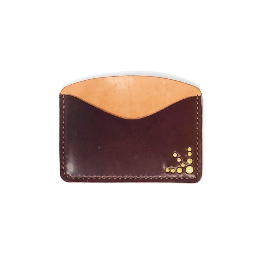 The Black Acre x SOP Studded Card Holder Brown Cordovan
