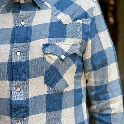 Slim Plaid Twill Western Shirt Indigo Cream