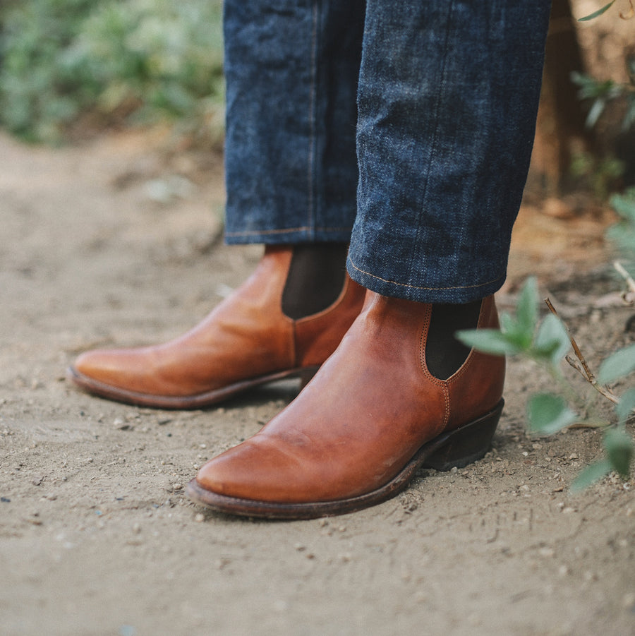 RRL x SOP Plainview Chelsea Boot Honey Brown Chromexcel