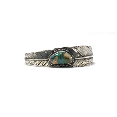 Sterling Silver Slim Feather Cuff w/ Turquoise