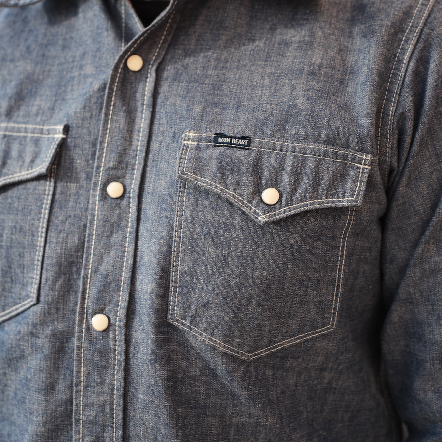 IHSH-13-BLU Selvedge Chambray Western Shirt