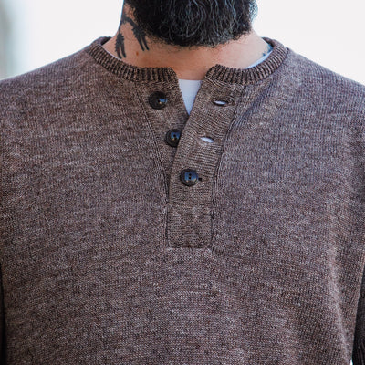 Linen Blended Knit Henley Brown