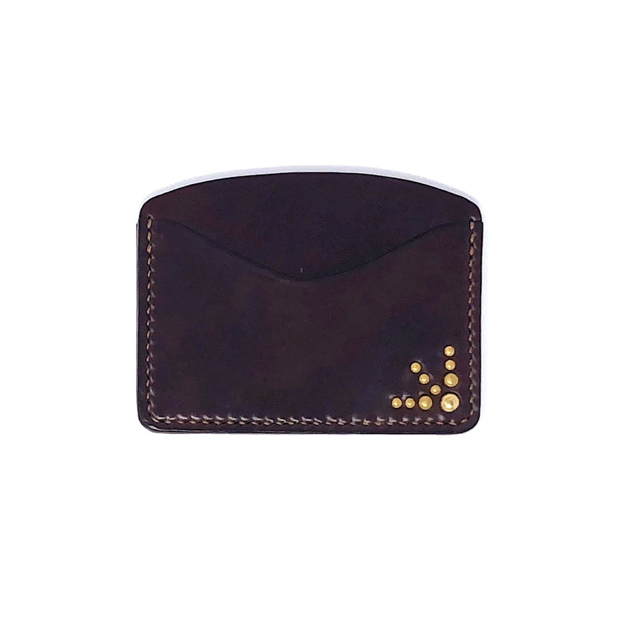 The Black Acre x SOP Studded Card Holder Burgundy Cordovan