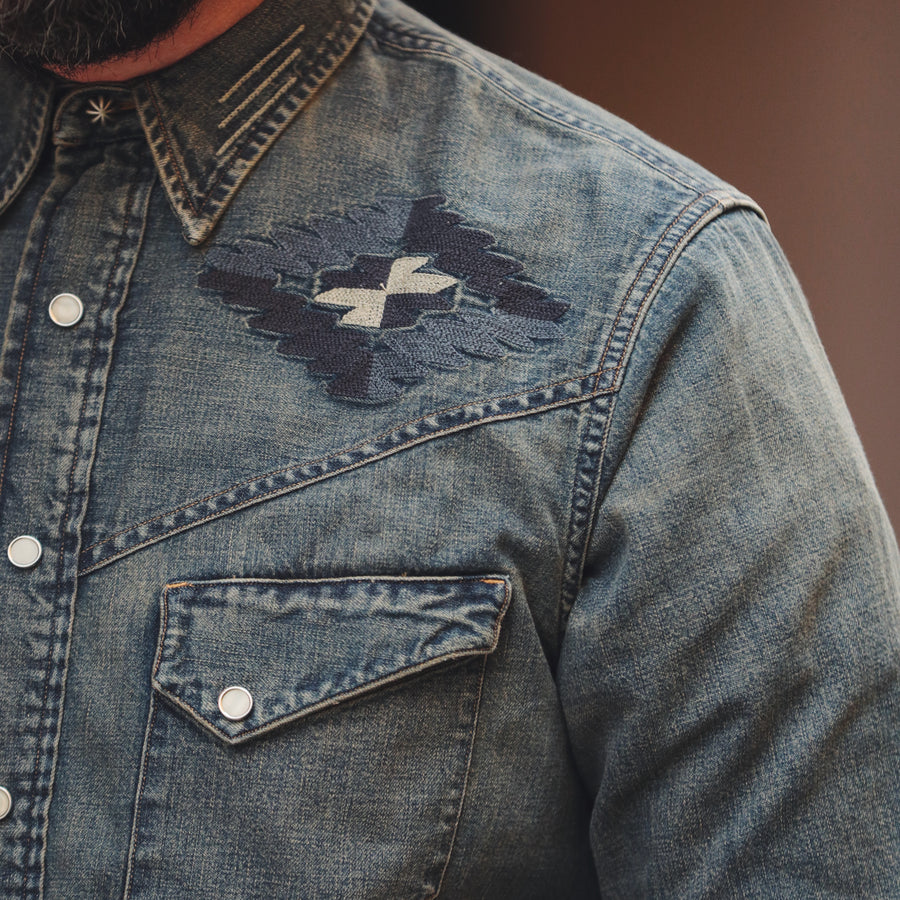 Slim Fit Embroidered Denim Western Shirt