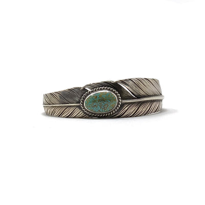 Sterling Silver Slim Feather Cuff Royston Turquoise