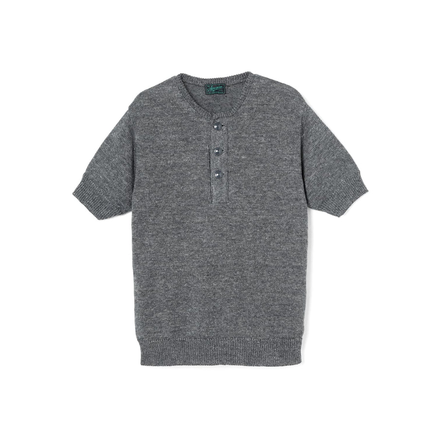 Linen Blended Knit Henley Charcoal