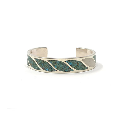 Wide Sterling Silver Inlaid Turquoise and Coral Cuff