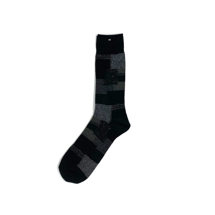 Patchwork Crew Sock Black