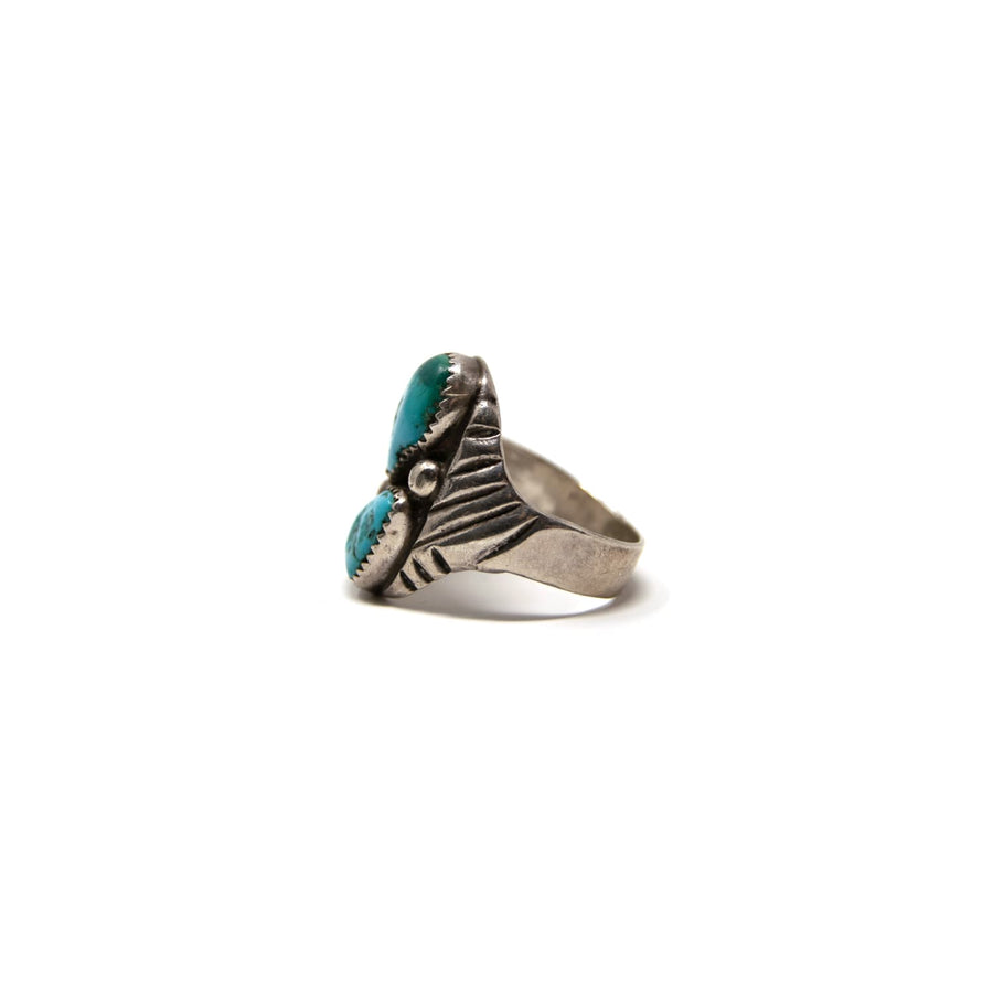 Old Pawn Navajo 2 Stone Turquoise & Sterling Ring Size 11.5