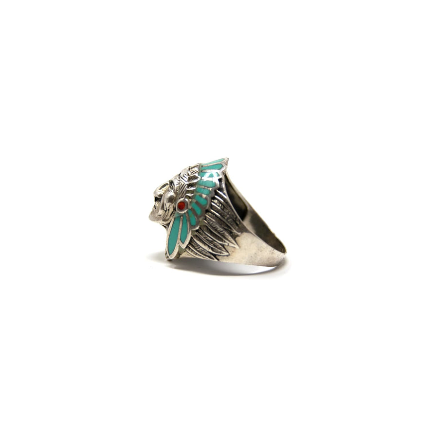 Indian Chief Turquoise & Coral Inlay Ring Size 10