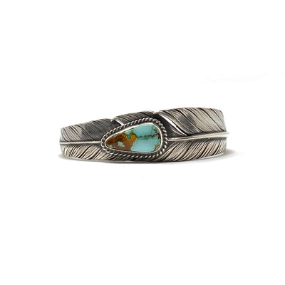 Slim Sterling Silver Feather Cuff Turquoise Mountain