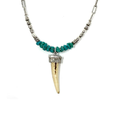 Sterling Silver Deer Horn Pendant Necklace