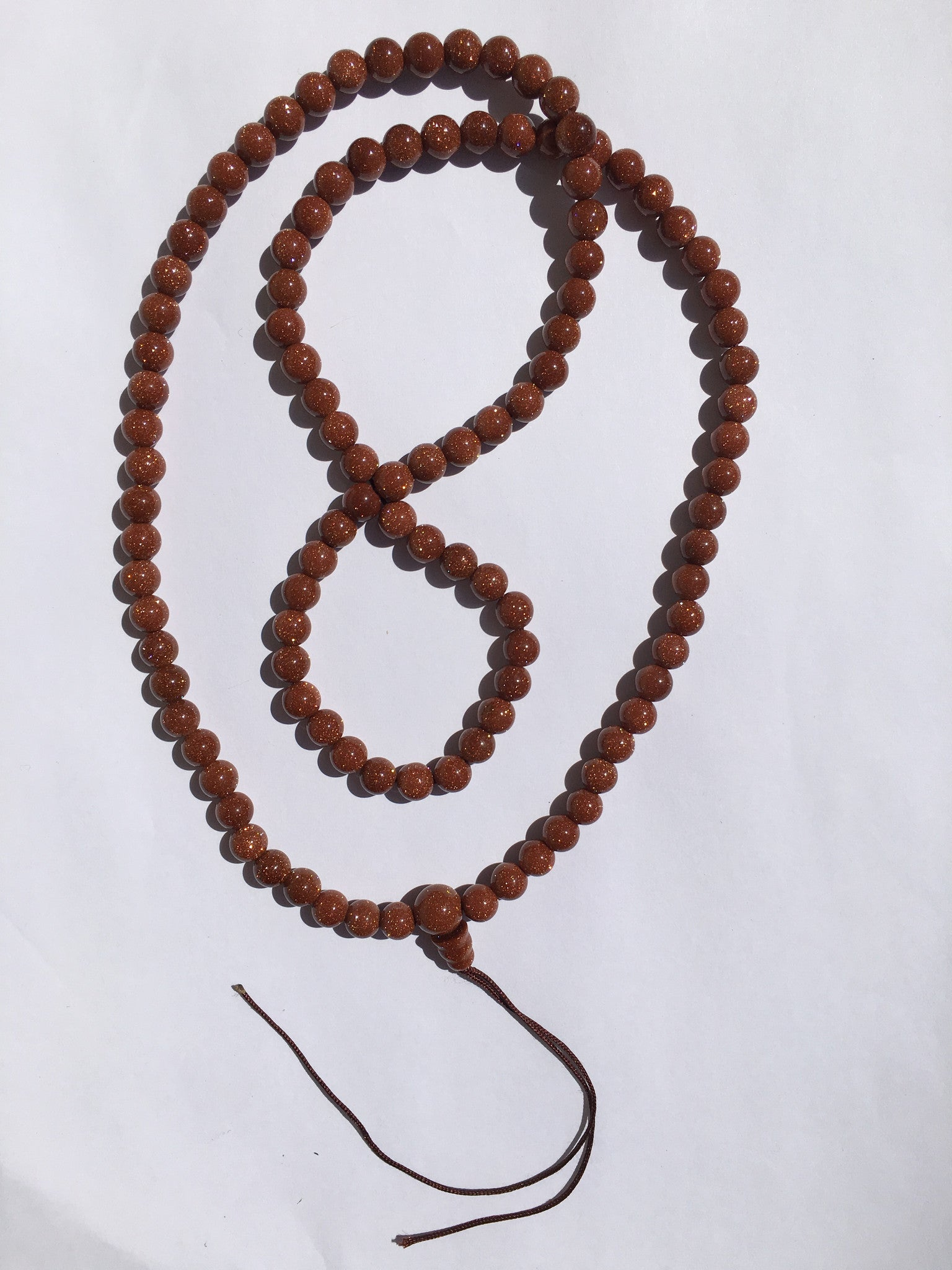 Sun Stone Mala Brown Gold