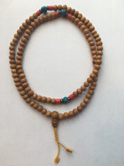 Wood Mala with Turquoise & Coral Beads