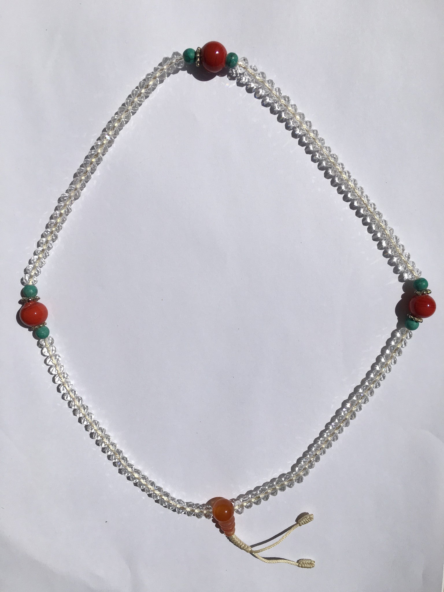 White Crystalline Mala With Turquoise & Coral Beads