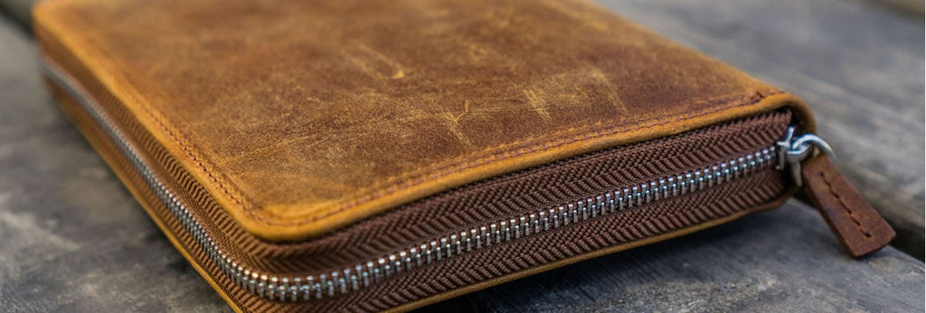 leather zipper pen cases
